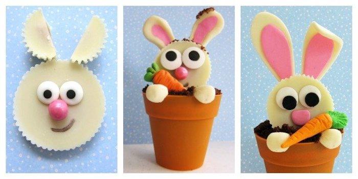 Cupcake lapin qui vit dans un pot au chocolat idée cadeau fait main pour la fete de paques, bricolage de paques