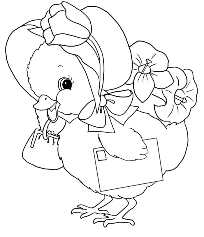 idée de coloriage printemps facile à colorier pour les enfants, modèle de dessin simple de Pâques avec poulet