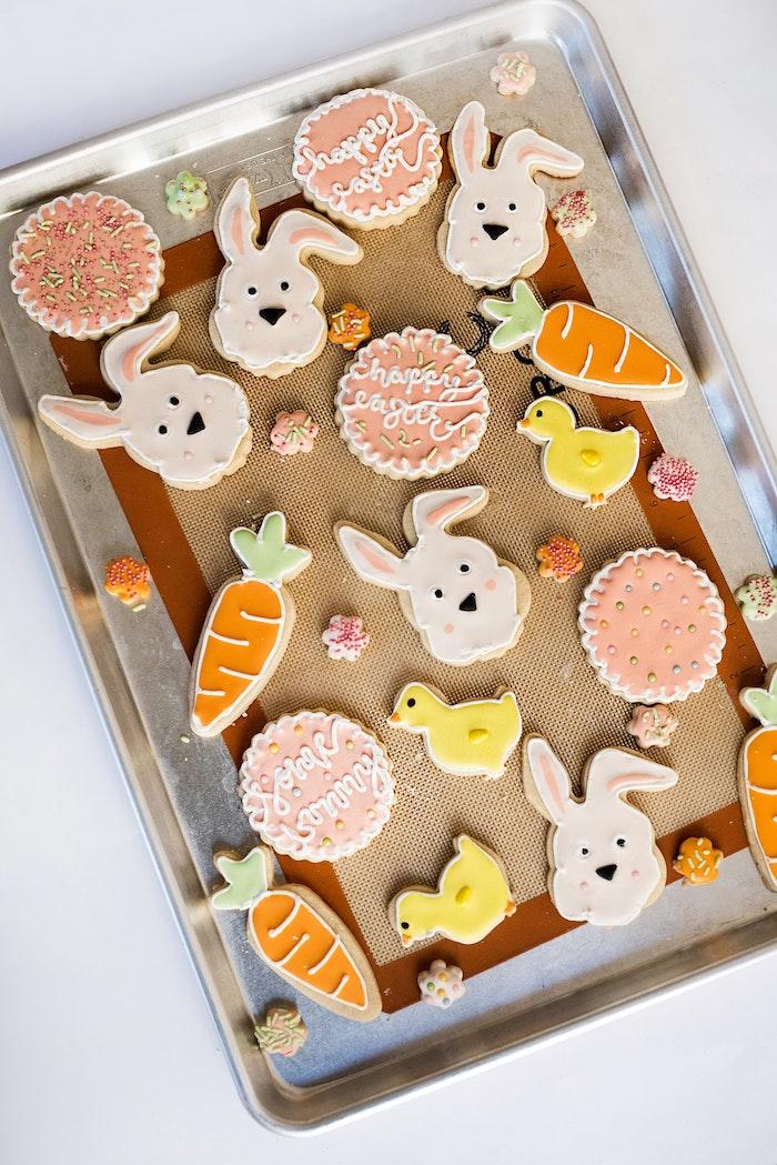 Biscuits carotte et lapin décoration beau cadeau original a fabriquer, activité manuelle paques diy cool