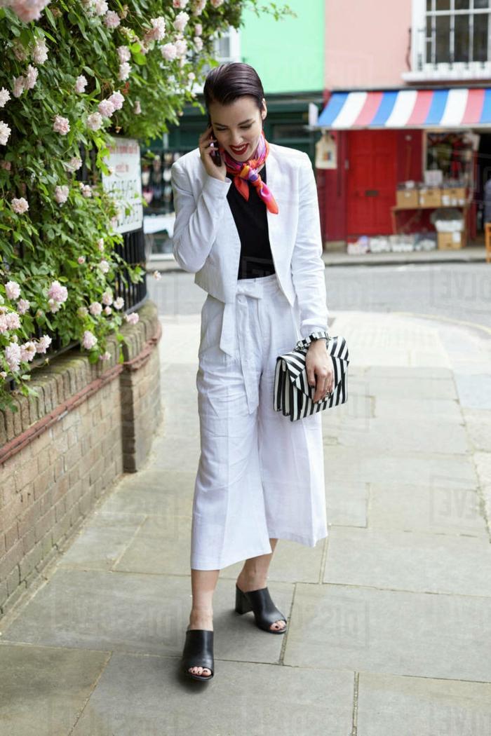 tailleur pantalon femme style décontracté, veste blazer en lin pour femme tenue d'été