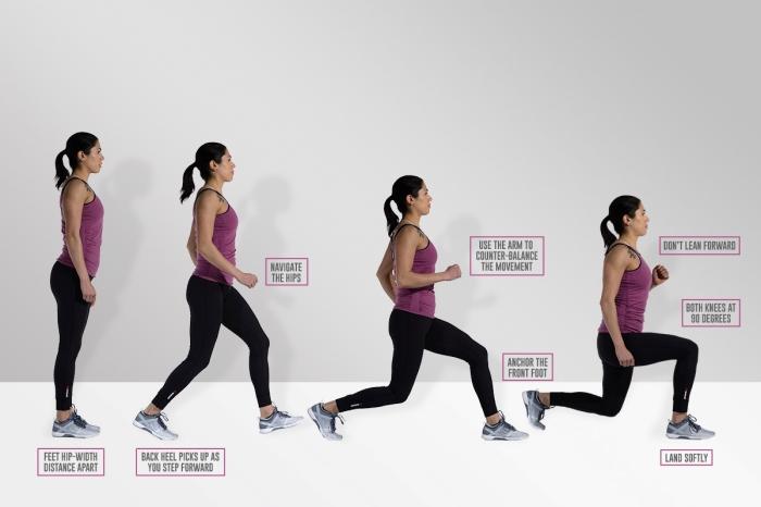 exercice musculation maison à faire facile, exemple comment faire des lunges avant pour muscler le bas de son corps