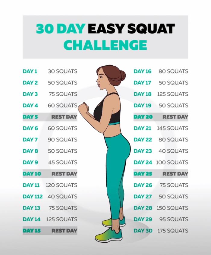 programme minceur ou musculation facile pour femme, idée défi de 30 jours avec squats facile, exercice entraînement femme