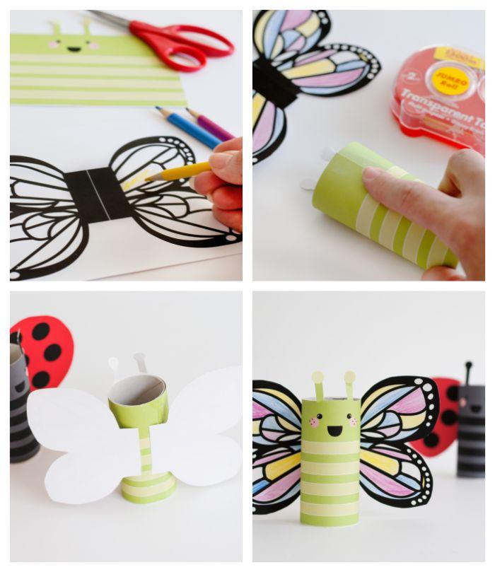 exemple activité rouleau papier toilette pour petit enfant avec des gabarits coloriage à imprimer, fabriquer papillon maternelle