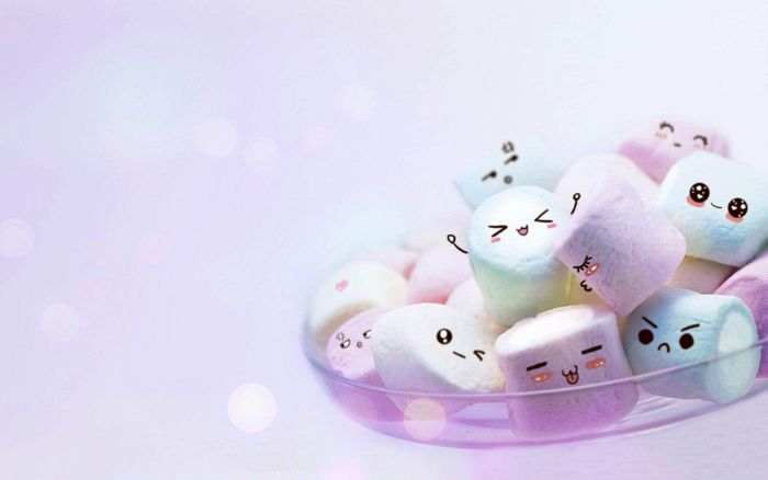 marshmallow kawaii couleur blanc et pastel dans une coupelle en verre, fond ecran kawaii original