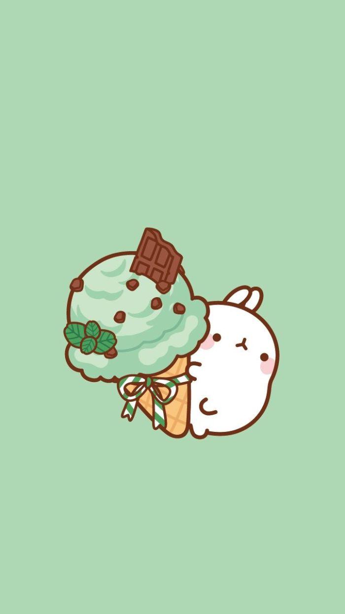 idee de glace à la menthe et chocolat et personnage kawaii sur fond vert, idee fond ecran nourriture interessant