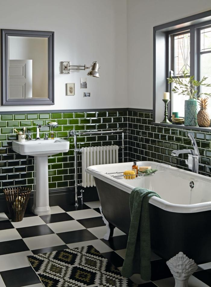 Vintage salle de bain carrelage verte peinture blanche, quelle couleur pour une salle de bain idée originale