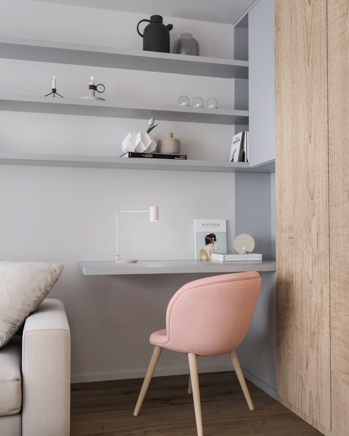exemple comment décorer un bureau petit espace aux murs gris clair, espace de travail avec bureau suspendu et chaise