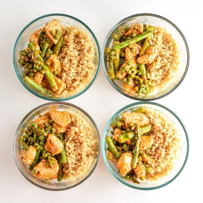 recette facile et rapide pas cher pour repas midi avec du riz, et blanc de poulet aux asperges et petits pois