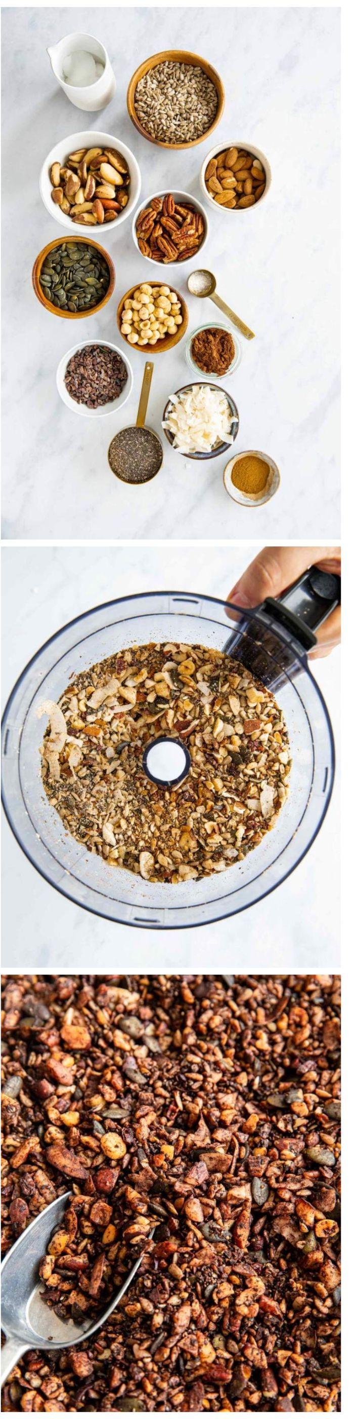 idee granola maison a faire soi meme dans version cetogene aux noix, graines, coco, cannelle et huile de coco