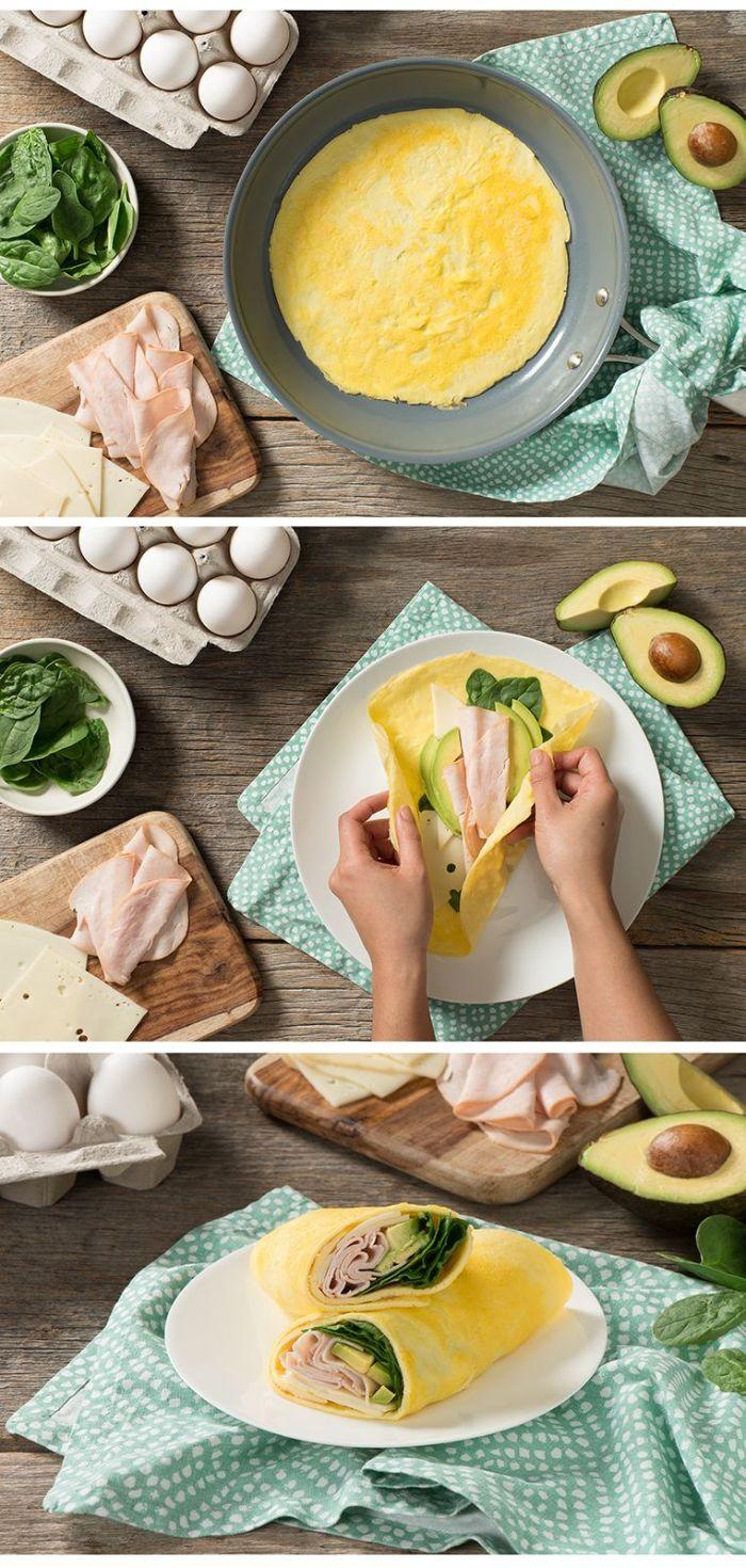 rouleau de crepe omelette au jambon, avocat et epinards, recette cetogene simple et rapide pour le menu de la semaine équilibré
