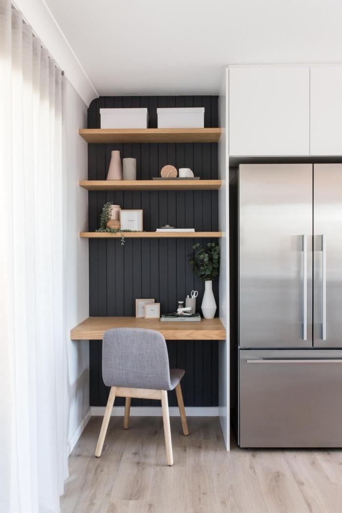 idée aménagement studio 25m2 ikea meubles en bois, exemple comment faire un petit espace de travail dans la cuisine