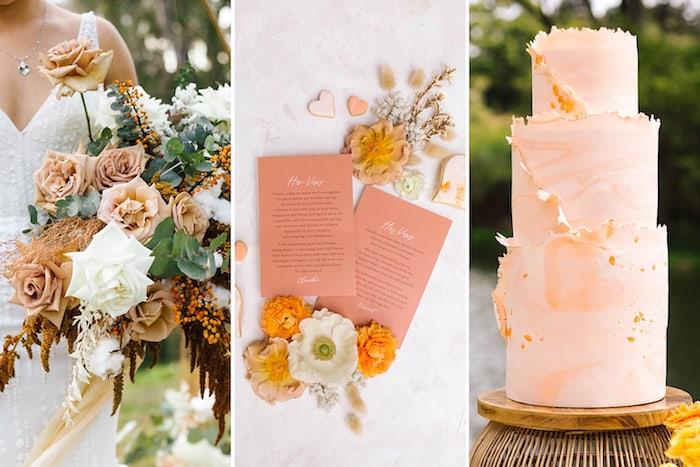 Déco orange peche gateau trois etages, idee deco mariage champetre, la beauté de la campagne décoration chic