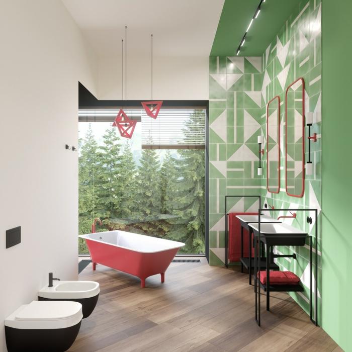 Belle salle de bain avec vue de la foret, vert et rouge baignoire, peinture vert d'eau, peindre la salle de bain vert d'eau beau