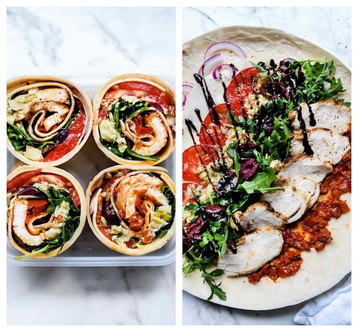 idee repas simple, roulé de poulet rôti, confiture de poivron rouge, salades vertes, olives, tomates, oignons