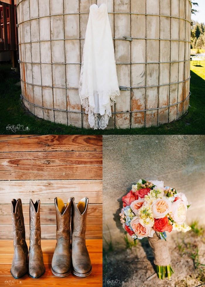 Bottes mariage champetre, robe blanche bustier style bohème, mariage champêtre chic tendance printemps été