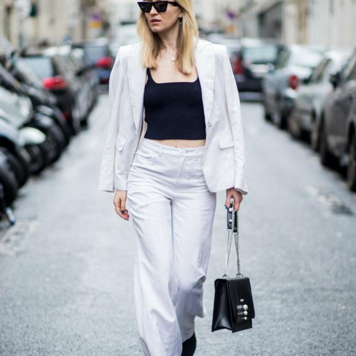 Image tailleur pantalon femme chic pour mariage, smoking femme inspiration tenue style de la rue