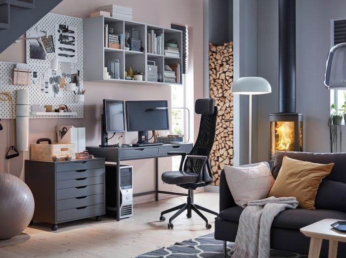 design coin de travail à domicile moderne avec meubles gris foncé et clair, idée de bureau avec tiroir contemporain