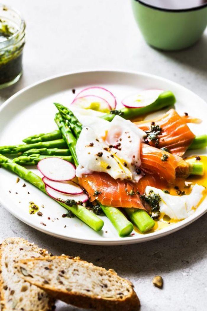 idee de petit déjeuner pour votre menu équilibré, constitué de saumon fumé, asperges et oeuf
