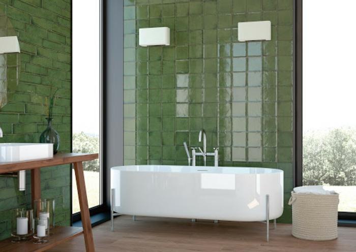 Meuble lavabo bois salle de bain vert d'eau, couleur peinture salle de bain vert