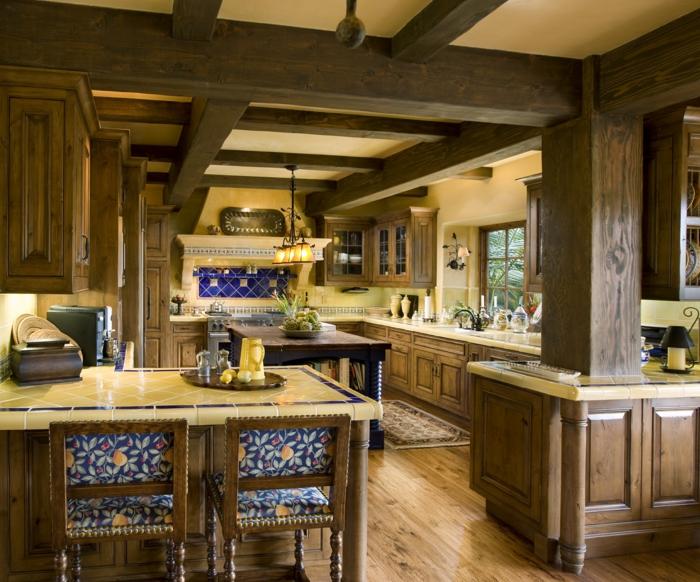 Jaune et bleu belle association de couleurs pour la cuisine rustique bleu et bois, stylée deco bleu marine ou nuit