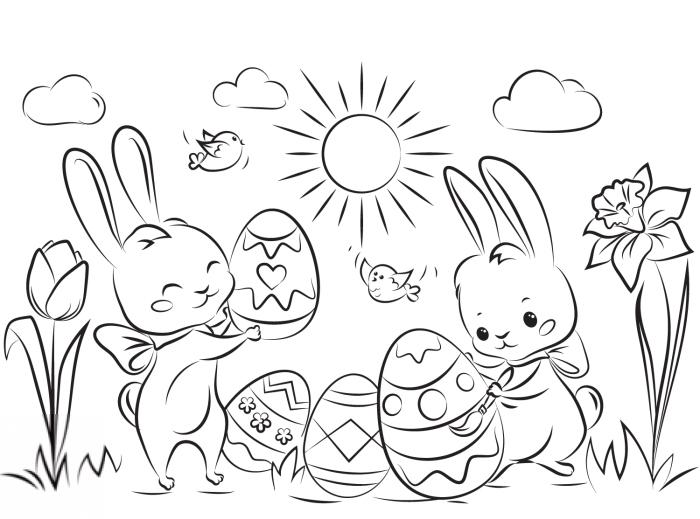 coloriage paques facile pour petits, exemple de dessin simple à colorer pour enfants, modèle dessin facile pour enfant