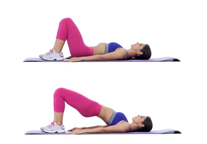 exercice sport maison facile à faire sans matériel, programme d'entraînement chez soi pour femme, exercice pont femme