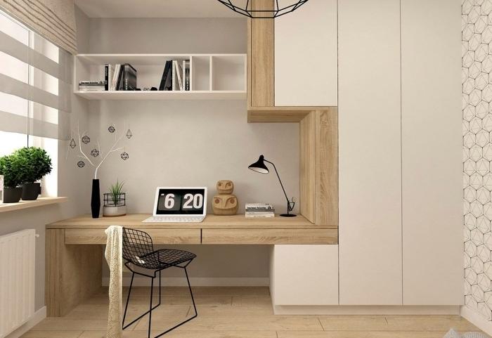 comment faire un coin de travail à domicile avec meubles tendance, idée aménagement bureau à la maison en blanc et bois