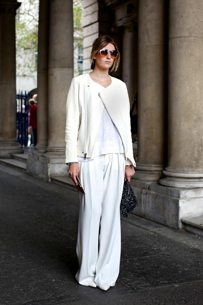 Veste cuir blanc, tailleur pantalon femme cocktail, ensemble tailleur femme en blanc
