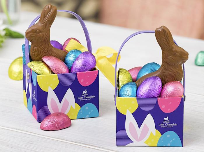 Petites boites en carton cadeau de paques sucré, oeufs et lapin au chocolat, décoration de paques à fabriquer, le meilleur cadeau de pâques