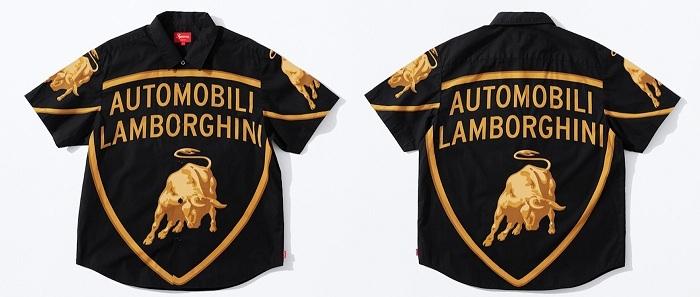 Chemise Supreme Lamborghini à manches courtes noire avec gros logo doré