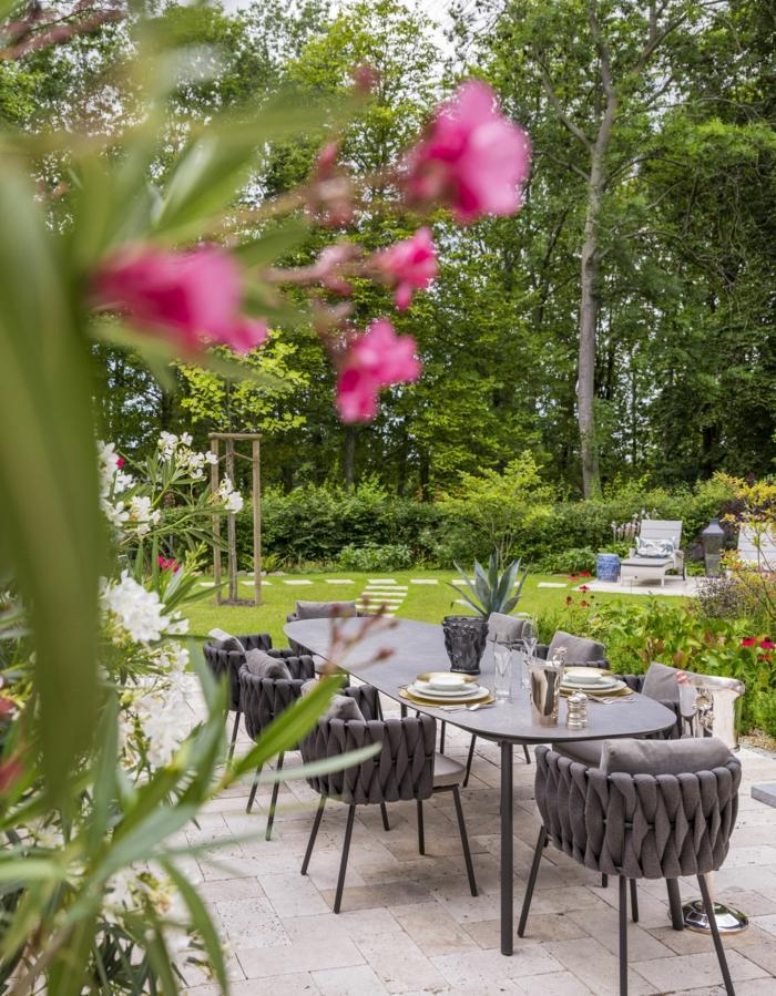 Branche fleurie, magnifique décoration jardin extérieur, amenagement petit jardin bien décoré