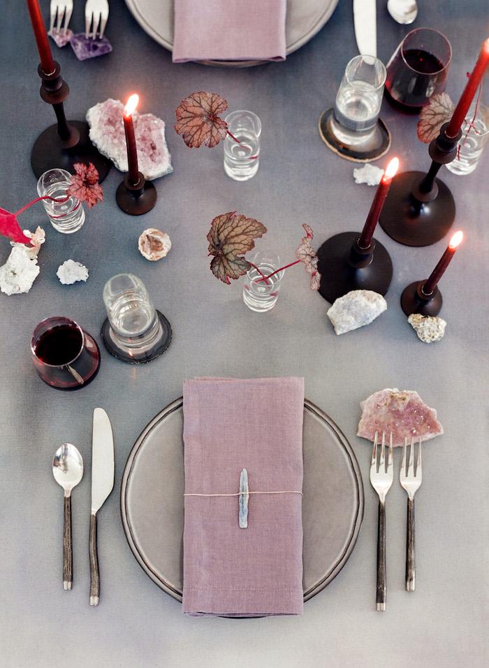 Serviette lin rose pale pierres precieux pour deco mariage champetre a faire soi-meme, mariage boheme chic