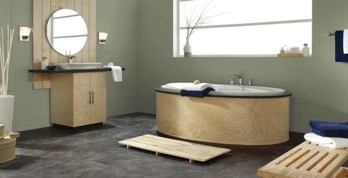 bamboo meubles, miroir ronde, mur peinture taupe vert, idee salle de bain, couleur peinture salle de bain photo