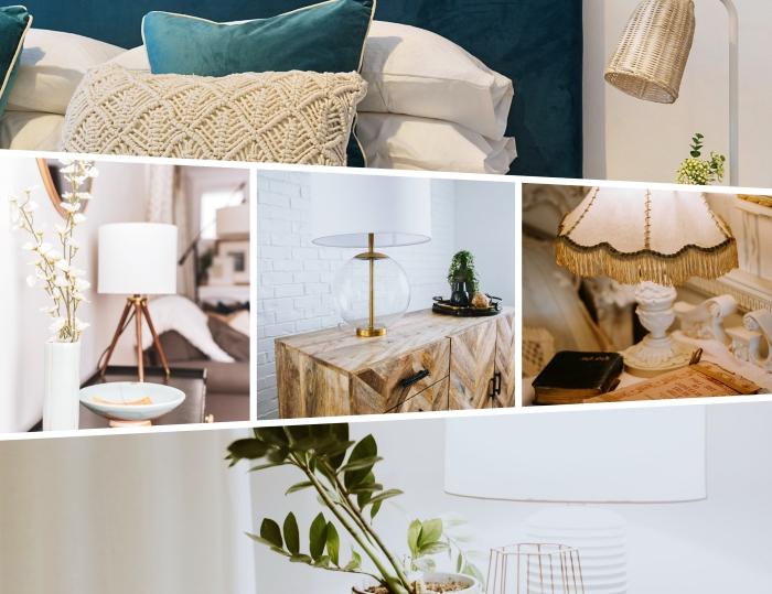 exemple comment décorer une chambre moderne en blanc et bleu avec accents nature, modèle de lampe à poser en verre et or