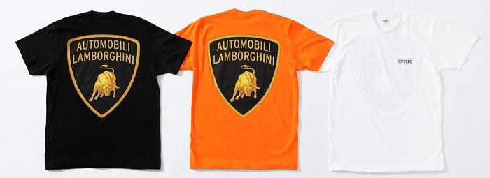 Tee shirt Supreme de la collection réalisée en partenariat avec Automobili Lamborghini