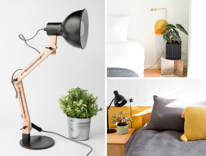 modèle de lampe à poser à design bois et noir mat, décoration chambre à coucher en blanc et gris avec accents jaune