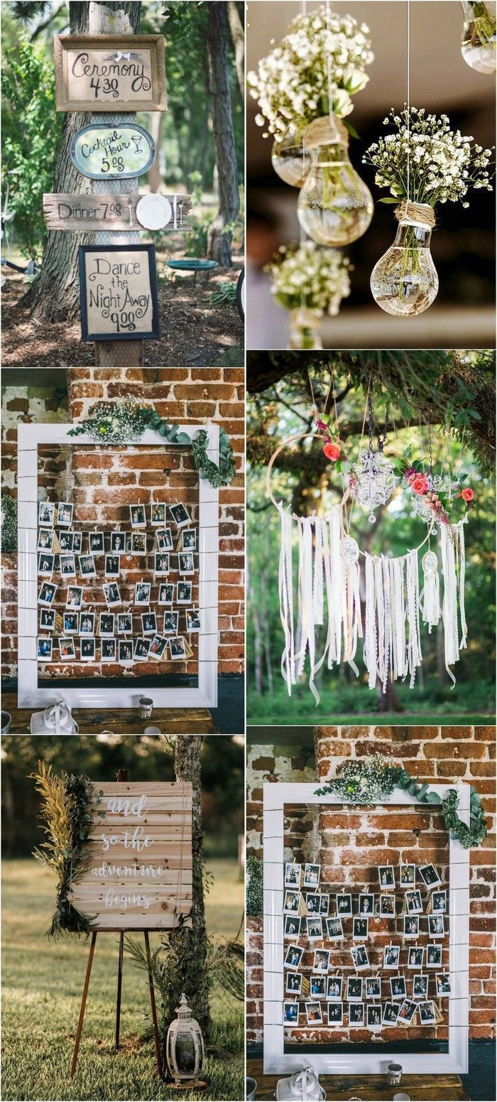 Collage deco mariage champetre, ardoise style bohème décoration champetre cadre photos