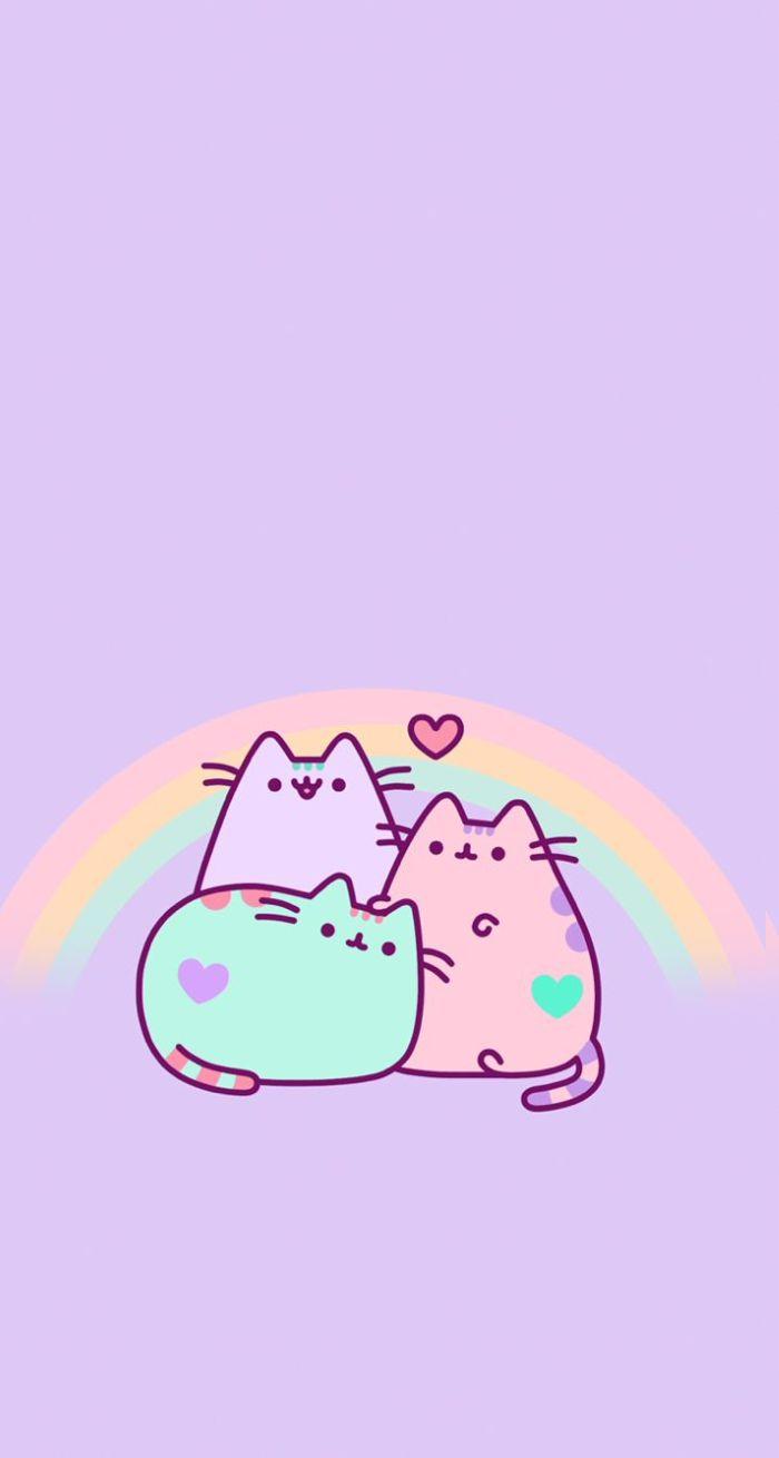 trois animaux chats kawaii sur fond rose avec arc en ciel en arrière, image fond ecran fille ou enfant pour iphone