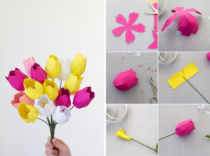 DIY fleur en papier origami facile, comment réaliser un bouquet fleur origami avec tulipes en papier de couleurs rose et jaune