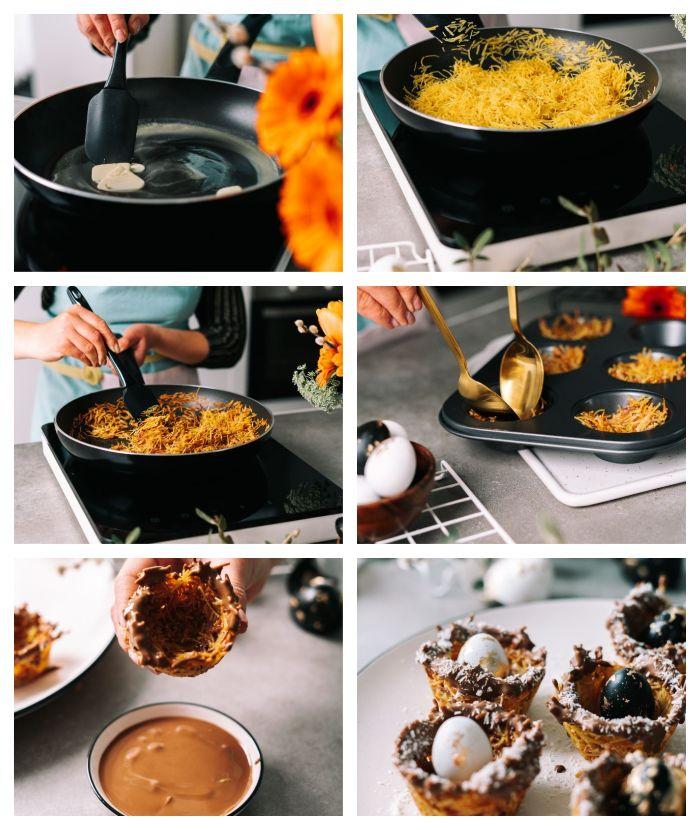 exemple repas de paqued, idee pour le dessert de psques, nid vermicelles, lait concentré et chocolat avec oeufs caille