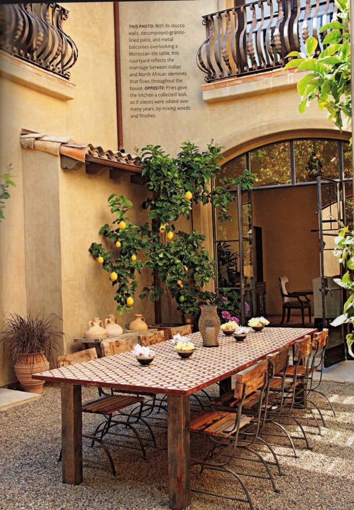 Citron arbre déco de villa tuscanienne, idee jardin paysagiste, terrasse exterieur au jardin original