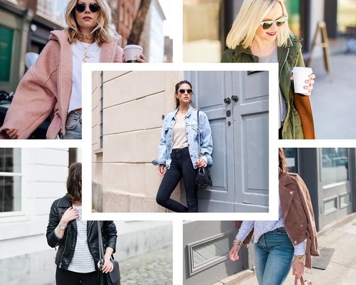 comment bien s'habiller au printemps femme, tenue casual chic en veste simili cuir noir et pantalon slim noir avec blouse blanche