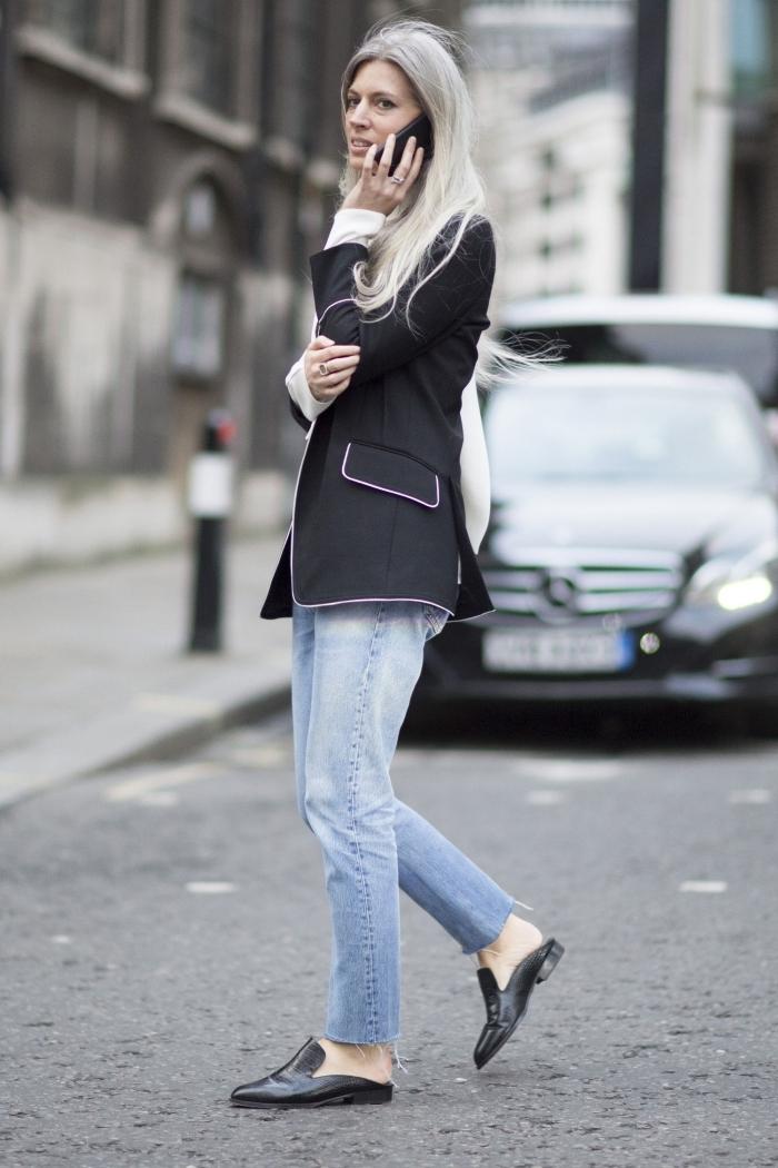 style vestimentaire femme élégante, idée de veste blazer femme élégante en noir combinée avec paire de jeans claires