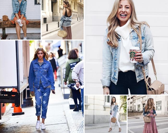 comment porter le denim en look total jeans au printemps, tenue casual chic femme en jupe longue rose et veste en jean courte