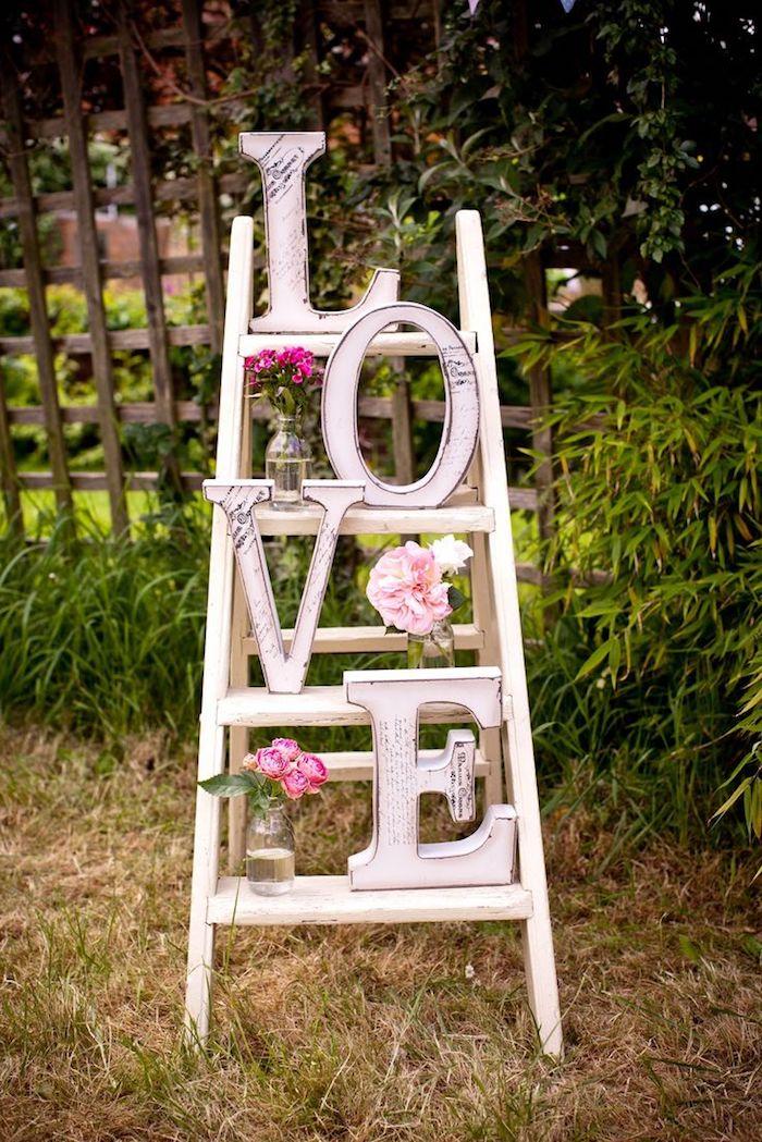 Échelle amour mariage champêtre chic, decoration mariage champetre élégant réception entrée