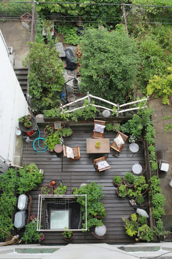 Vue de haut idée deco terrasse, comment bien aménager une terrasse extérieur