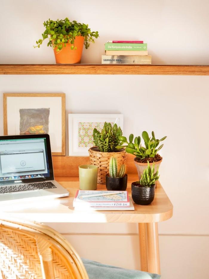 les plus belles plantes d'intérieur pour décorer son office à domicile, design petit espace de travail à maison en blanc et bois