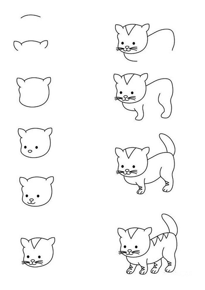 modèle de dessin de chat facile a reproduire pour enfant, dessin pas à pas de petit chat mignon avec pattes avant et derrière