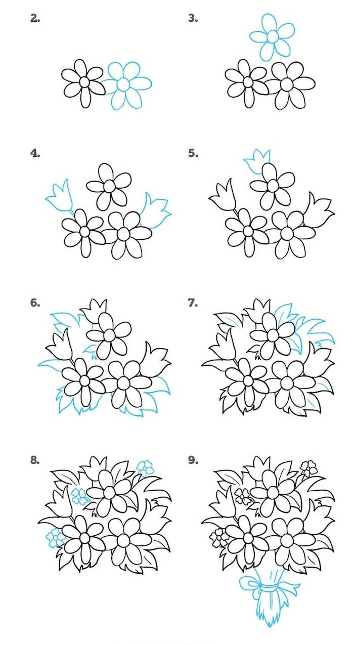Bouquet de fleurs dessin pour maman, comment dessiner un bouquet pour sa mère cadeau pour la fete des meres