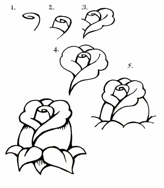 Rose étape par étape image fete des meres, dessin pour la fête des mères idée cadeau